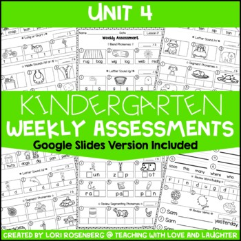 Weekly Assessments Unit 4 {Compatible With Kindergarten Journeys}