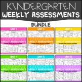 Kindergarten Weekly Assessments Bundle   Google Classroom