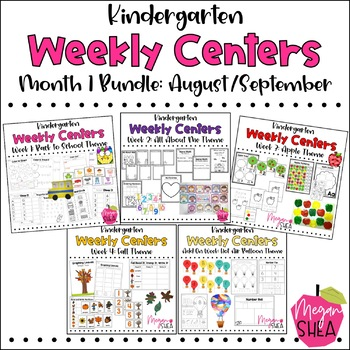 Kindergarten Weekly Centers Month One BUNDLE August/September