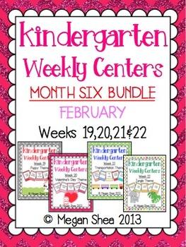 Kindergarten Weekly Centers Month Six BUNDLE February