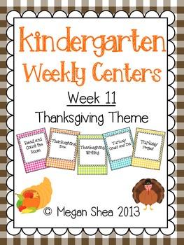 Kindergarten Weekly Centers Week 11 Thanksgiving Theme