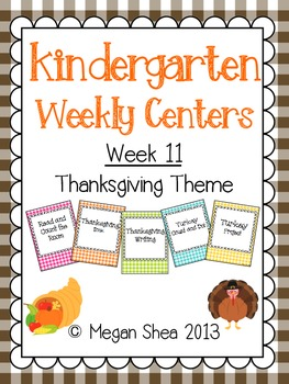 Kindergarten Weekly Centers Week 11 Thanksgiving Theme