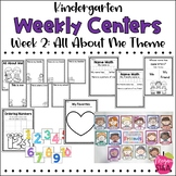 Kindergarten Weekly Centers Week 2 All About Me Theme