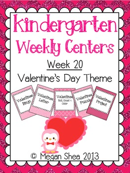 Kindergarten Weekly Centers Week 20 Valentines Theme