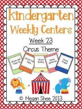 Kindergarten Weekly Centers Week 23 Circus Theme