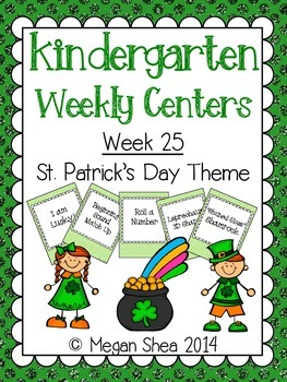 Kindergarten Weekly Centers Week 25 St. Patrick's Day Theme