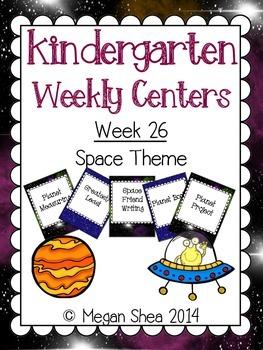 Kindergarten Weekly Centers Week 26 Space Theme