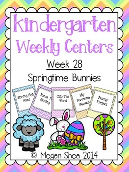 Kindergarten Weekly Centers Week 28 Springtime Bunnies Theme