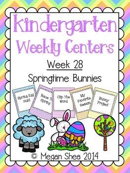 Kindergarten Weekly Centers Week 28 Springtime Bunnies Theme