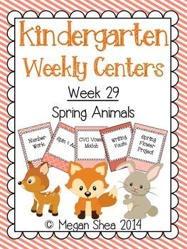 Kindergarten Weekly Centers Week 29 Spring Animals Theme