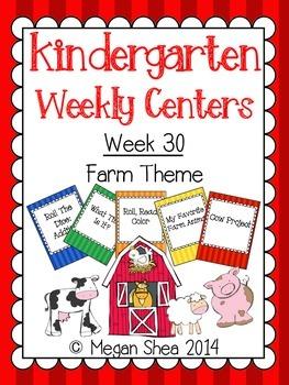 Kindergarten Weekly Centers Week 30 Farm Theme
