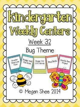 Kindergarten Weekly Centers Week 32 Bug Theme