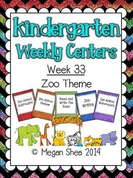 Kindergarten Weekly Centers Week 33 Zoo Animal Theme