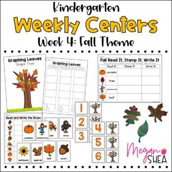 Kindergarten Weekly Centers Week 4 Fall Theme