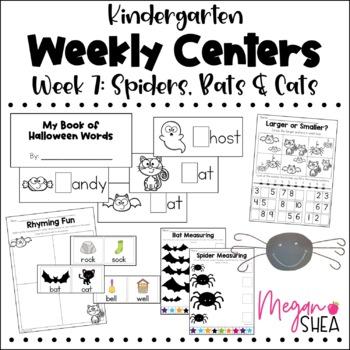 Kindergarten Weekly Centers Week 7 Spiders, Bats & Cats Theme