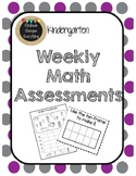 Kindergarten Weekly Common Math Assessments