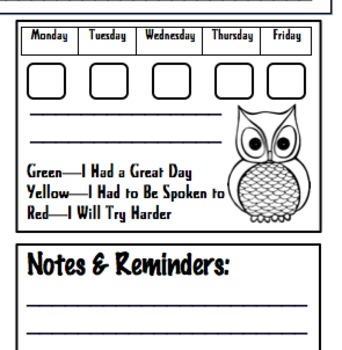 Kindergarten Weekly Communication Sheet