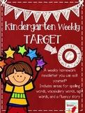 Kindergarten Weekly Editable Homework Newsletter