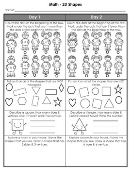 Kindergarten Weekly Homework (2D Shapes)