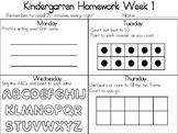Kindergarten Weekly Homework