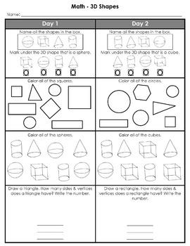 Kindergarten Weekly Homework (3D Shapes)