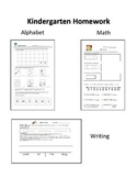 Kindergarten Weekly Homework: Alphabet,Writing, and Math