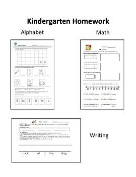 Kindergarten Weekly Homework: Alphabet,Writing, and Math