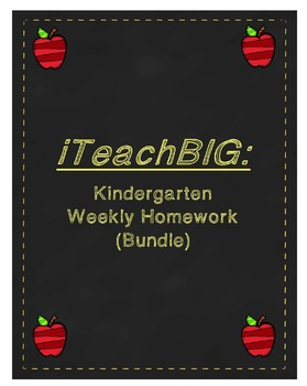 Kindergarten  Weekly Math Homework  (Bundle)
