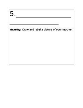 Kindergarten Weekly Homework Calendar