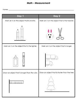 Kindergarten Weekly Homework (Measurement)