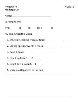 Kindergarten Weekly Homework PART TWO