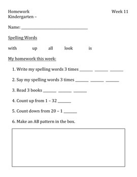 Kindergarten Weekly Homework PART TWO