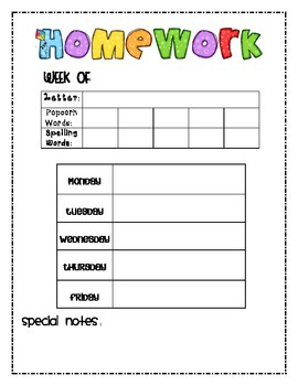 Kindergarten Weekly Homework Sheet