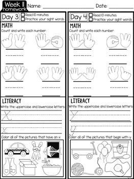 Kindergarten Weekly Homework {quarter two D'NEALIAN PRINT}