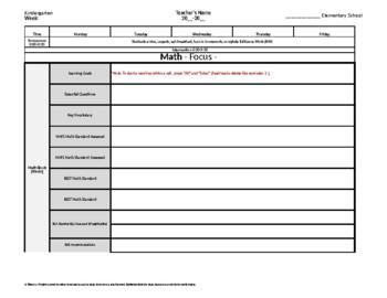 Kindergarten Weekly Lesson Plan Template w/ Florida Standards Drop Down Lists