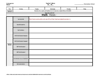 Kindergarten Weekly Lesson Plan Template w/ Florida Standa