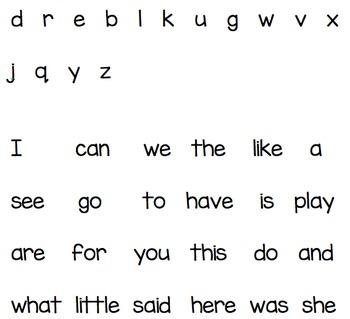 Kindergarten Weekly Literacy Test