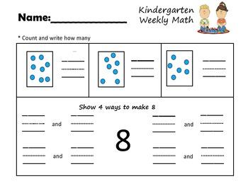 Kindergarten Weekly Math Assessment