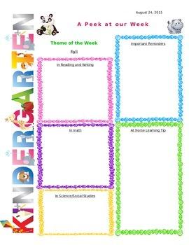 Kindergarten Weekly Newsletter Template