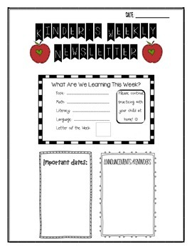 Kindergarten Weekly Newsletter