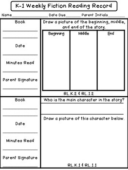 EDITABLE K/1 Weekly Fiction Reading Records w/ Comprehension Response Options