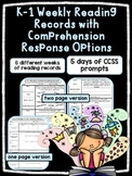 EDITABLE SKILLS BASED Weekly Reading Logs K-1 EDITION (CCSS RL Question Stems)