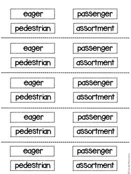 Kindergarten Weekly Vocabulary Cut and Paste
