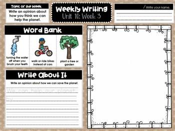 Kindergarten Weekly Writing (Unit 10, Week 3)