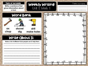 Kindergarten Weekly Writing (Unit 2, Week 1)