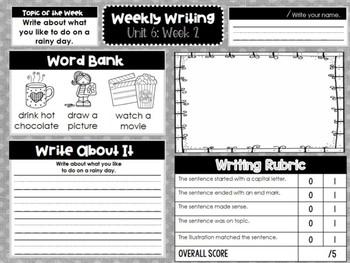 Kindergarten Weekly Writing (Unit 6, Week 2)
