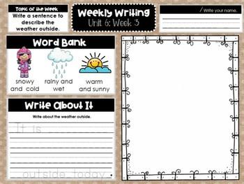 Kindergarten Weekly Writing (Unit 6, Week 3)