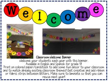 Kindergarten Welcome/Bienvenidos Classroom Banner