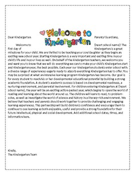 Kindergarten Welcome Letter by Inspired by the Sea Resources | TpT