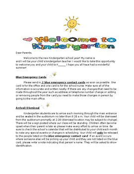 Kindergarten Welcome Letter by Danielle franzese | TpT